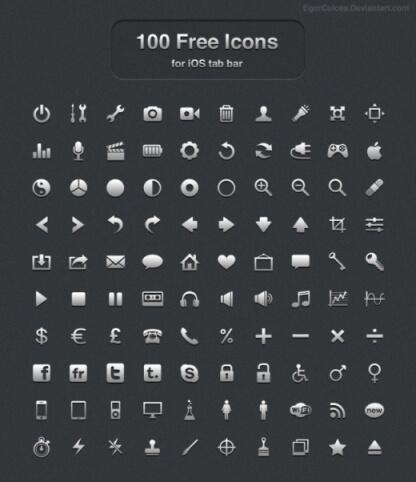 100 Free icons for iOS tab bar by EgorCulcea