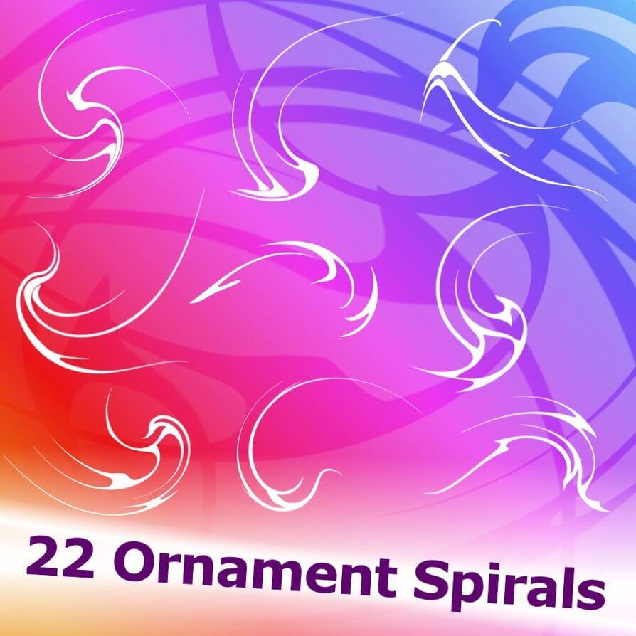 22 Ornament Spirals Brushes by XResch