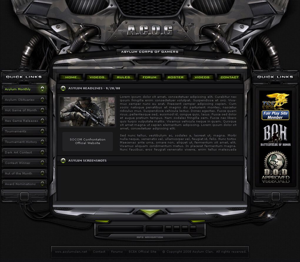 AsY Clan Gaming Site Layout by ImmoRtalMedia