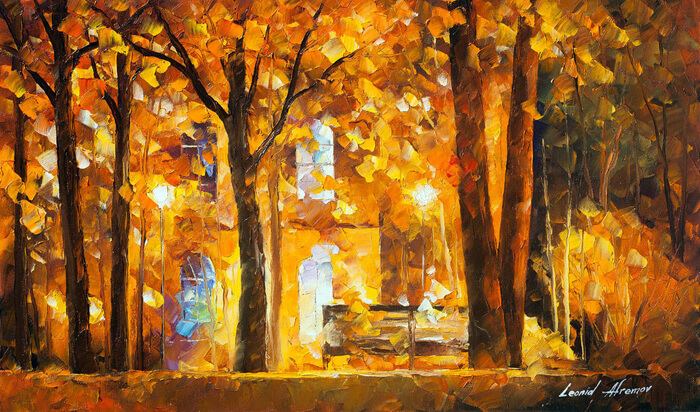 Autumn City Park by Leonid Afremov by Leonidafremov