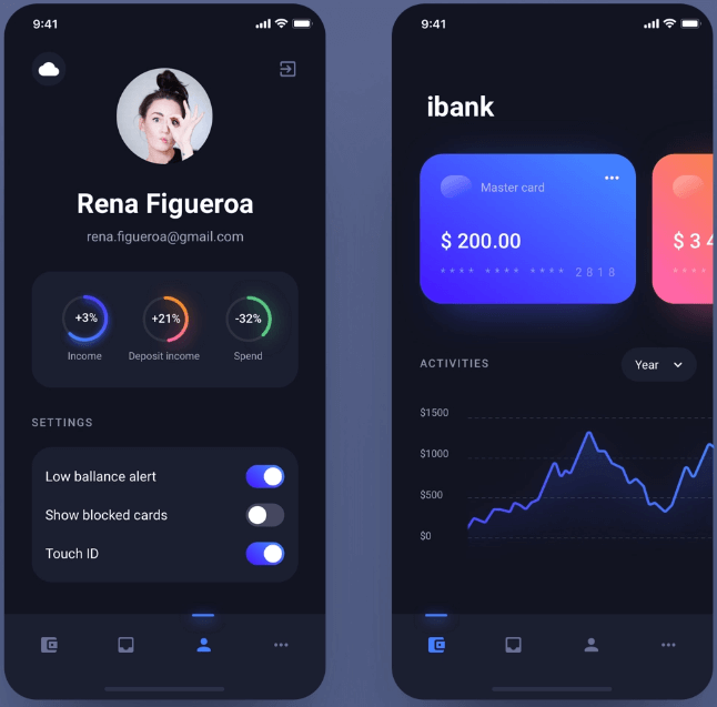 Banking app dark version
