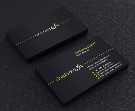 Black Business Card Template Design by GraphicMore by GraphicMore
