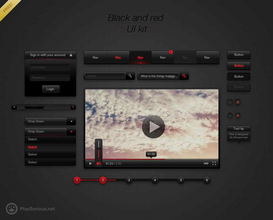 Black and Red UI Kit by ~neme313