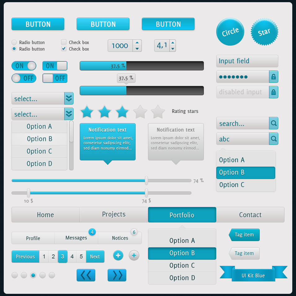 Blue UI Touch Kit by ~SmaXh