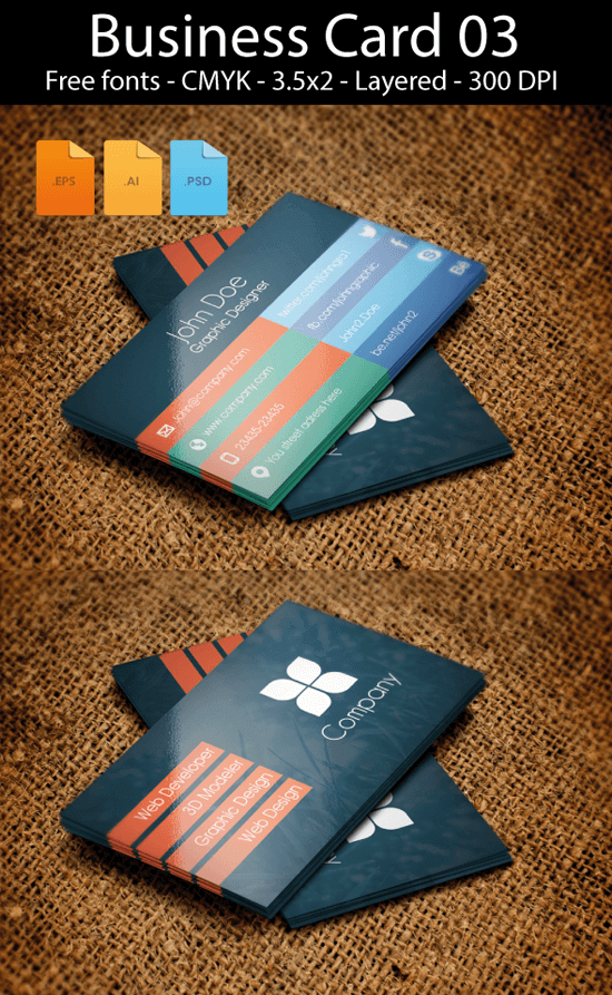 Business card design flat Freebie by artgh