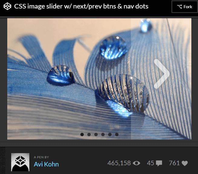 CSS image slider w/ next/prev btns & nav dots by Avi Kohn