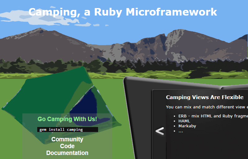 Camping, a Ruby Microframework