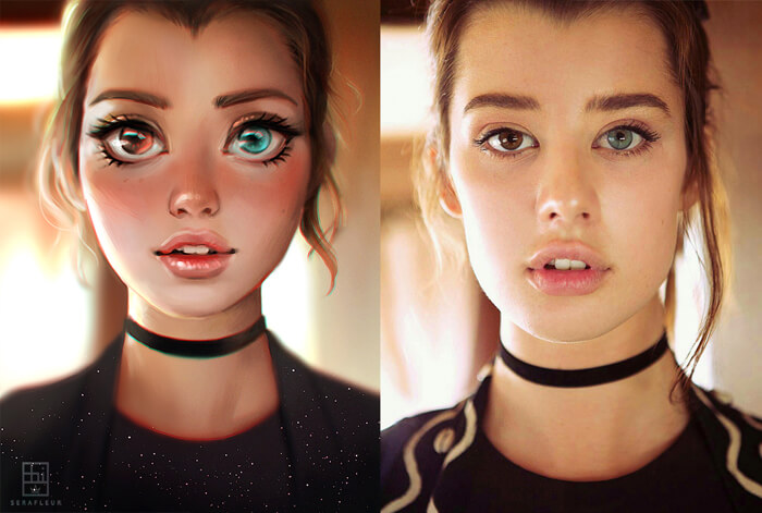 Cartoon vs Reality - Sarah McDaniel by serafleur
