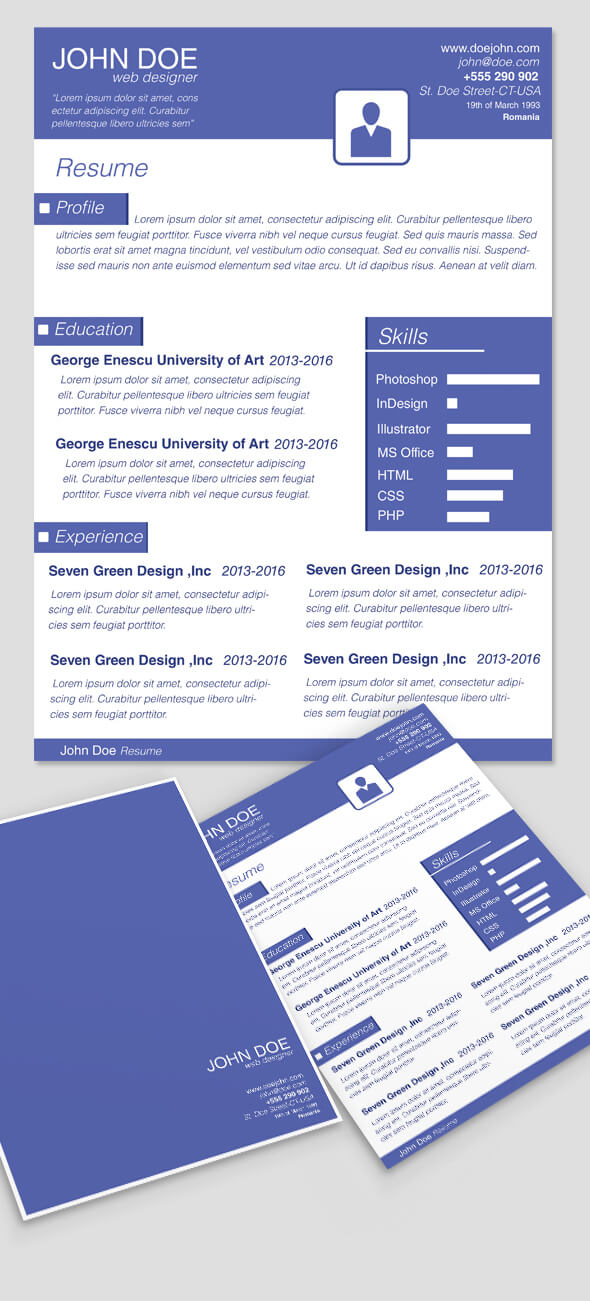 Clean Blue CV Resume TemplateCover by codegrape