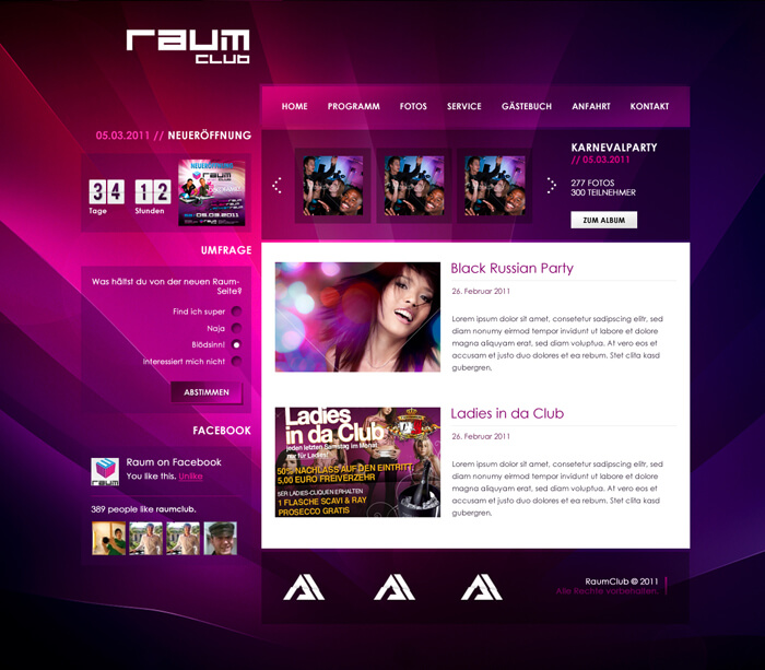 Raum Club Page by artistandarchitects