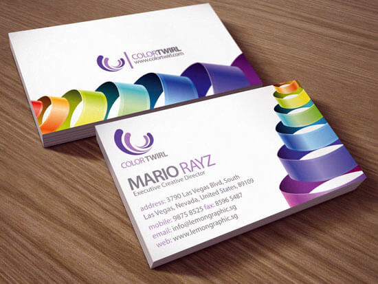 Color twirl business card by Lemongraphic