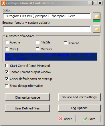 Configuration of Control Panel - xampp