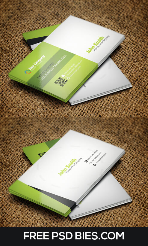 Corporate Professional QR Code Business Card Templ by FreeBusinessCards