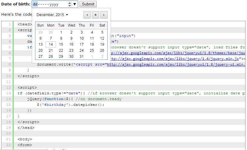 Date picker HTML5 pop up calendar control