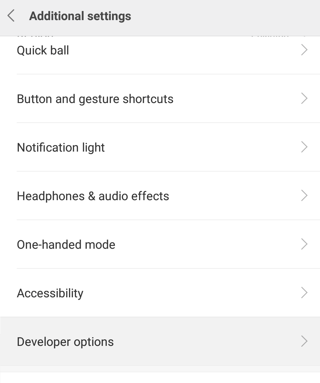 Develop Option in Additional Settings