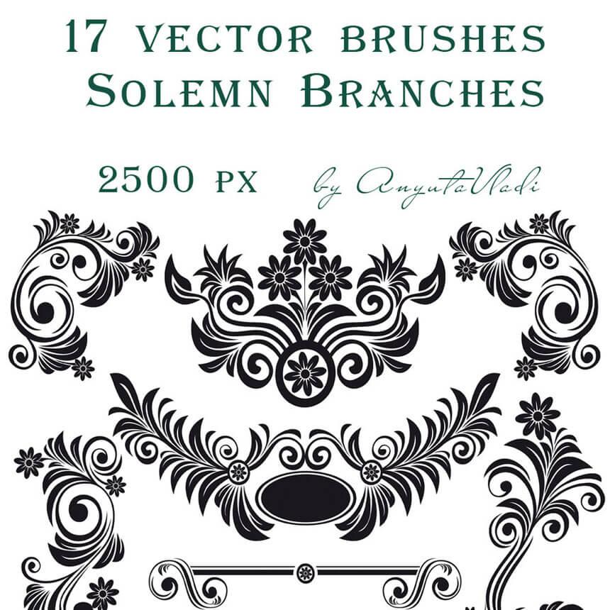 Download Swirls Vector Decorative Brushes for Photoshop Volume 5 by anyutavladi