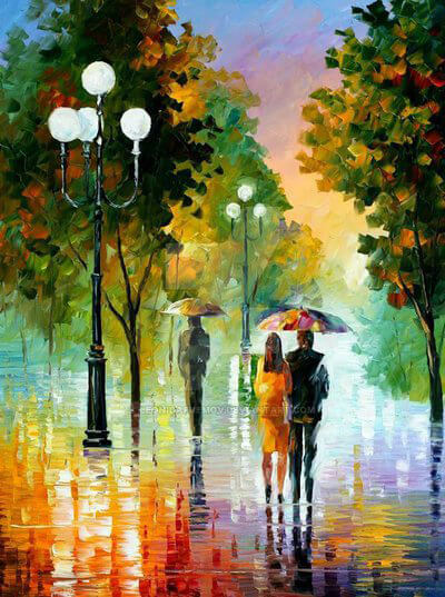 Evening Stroll Under The Rain by Leonid Afremov by Leonidafremov