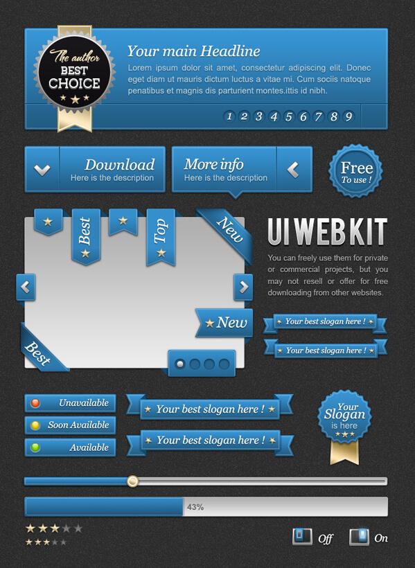 FREEBIES  UI Blue web kit by ~oblik50