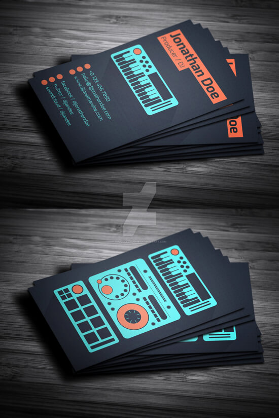 Flat Producer – DJ Business Card (psd template) by iamvinyljunkie