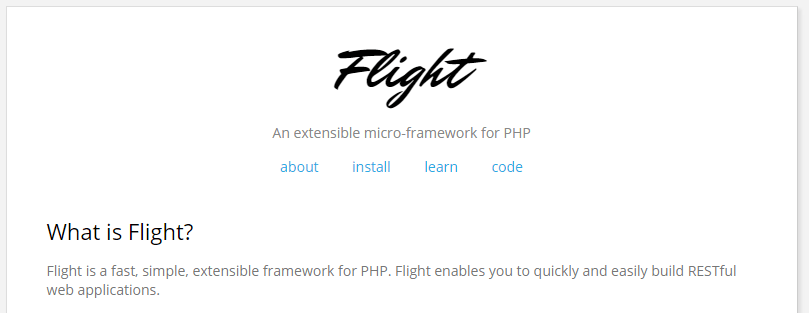 Flight micro-framework for PHP
