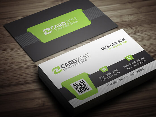 Business card design examples 1 free green qr code business card template flashek Images