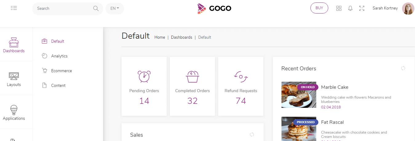 Gogo - React Bootstrap 4 Admin Saas Template