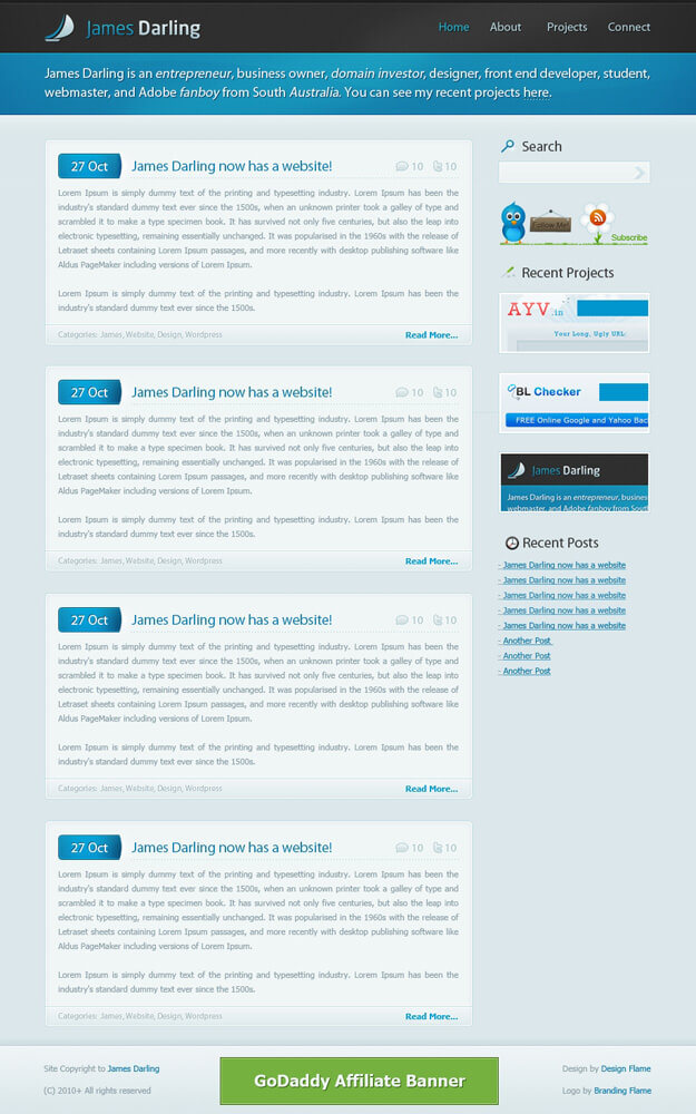JD - WP Theme for sale - coded by designflame