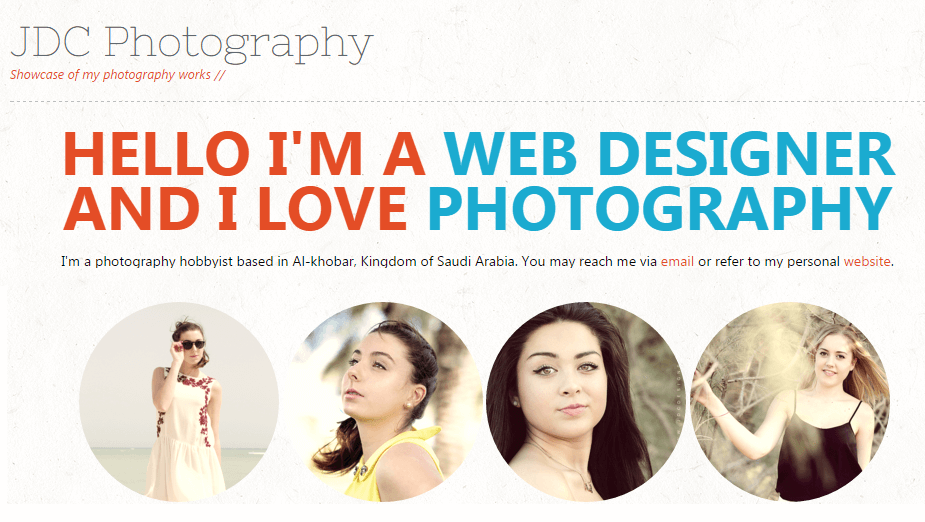 JDC - Photography portfolio design