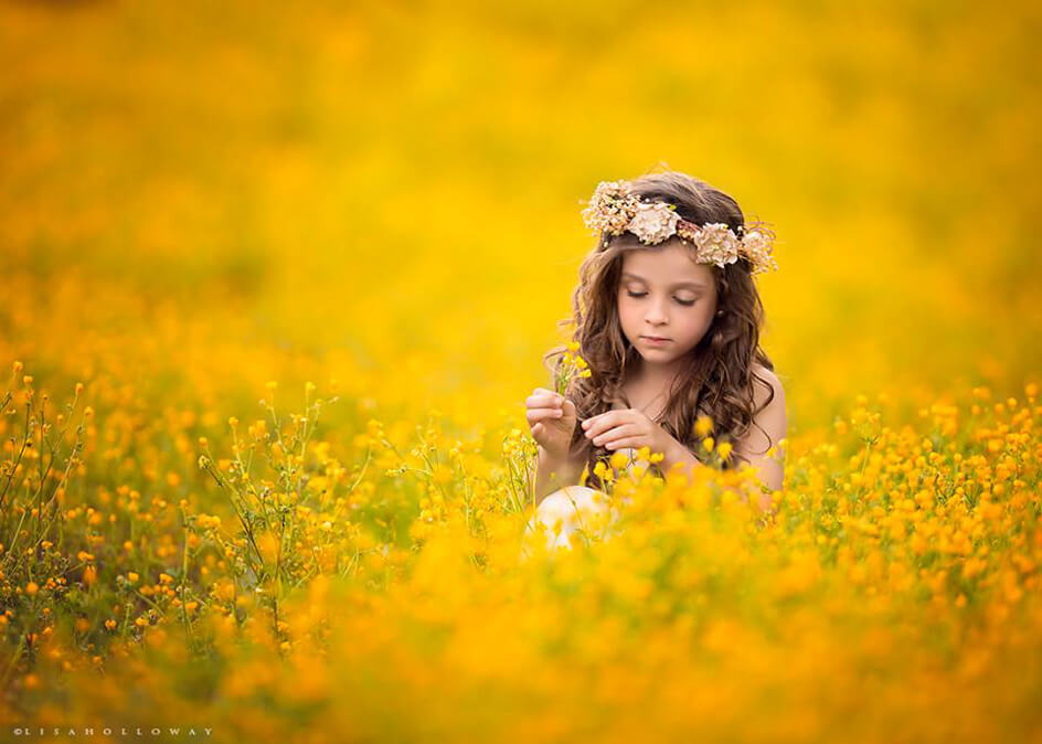 Little princess in sunflowers by Emine Saldik