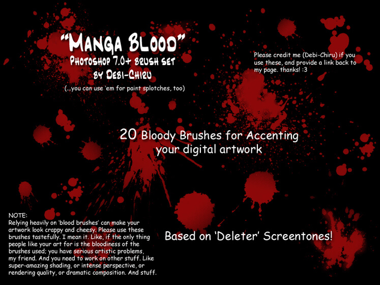 Manga Blood- brush set by Debi-Chiru
