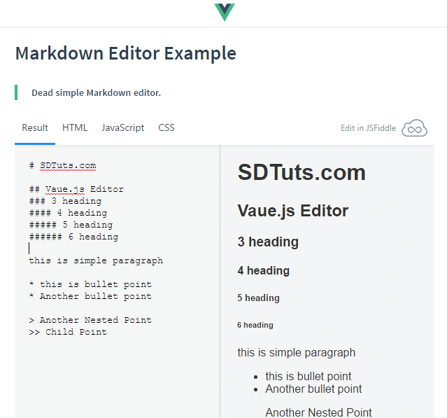 Markdown Editor Example - Vue.js