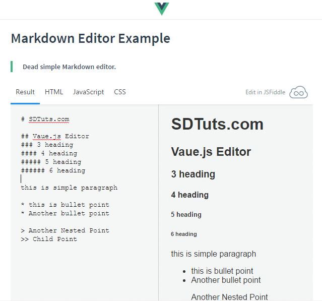 Markdown Editor Example - Vue.js
