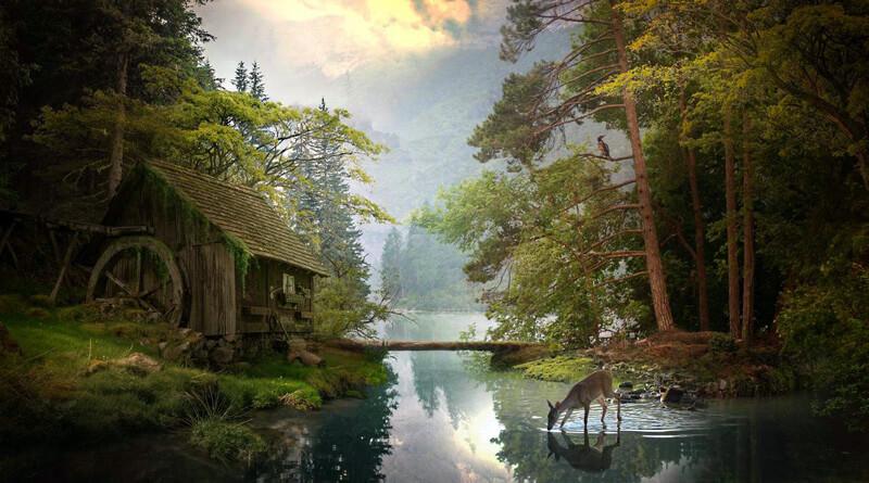 Mill by the lake by ElenaDudina