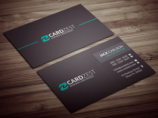 Modern Minimal All Black Business Card Template by mengloong