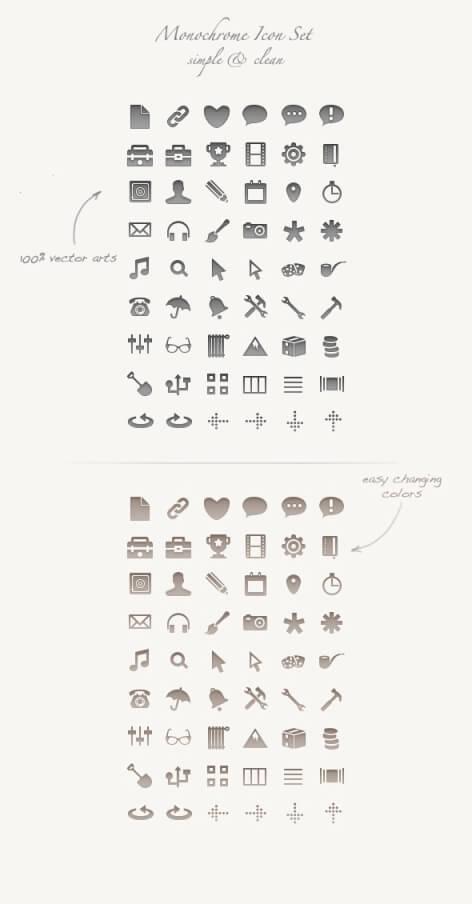 Monochrome Icon Set by okidoci
