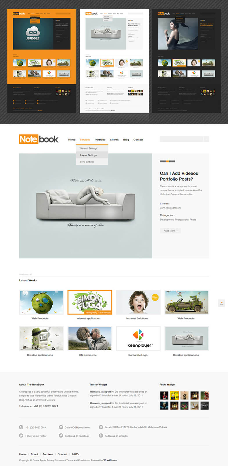 Notebook - Responsive WordPress Portfolio Theme by HawkTheme