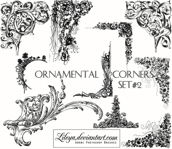 Ornamental Corners set 2 by Lileya