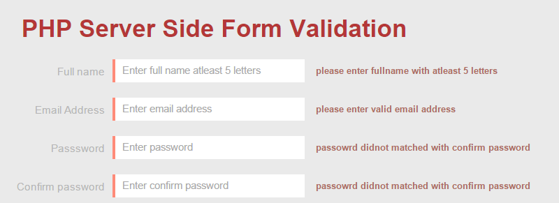 PHP Server Side Form Validation tutorial