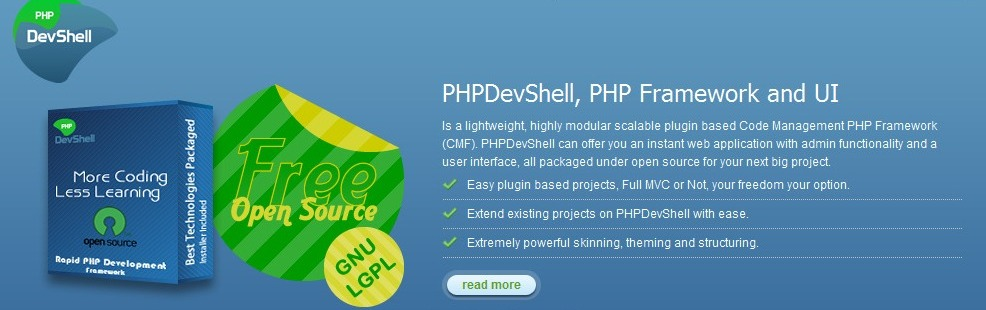 PHPDevShell, PHP Framework and UI