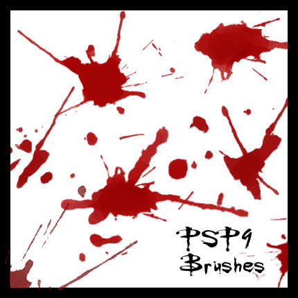 PSP 9 Ink+Blood Splats Brushes by CelticTouch