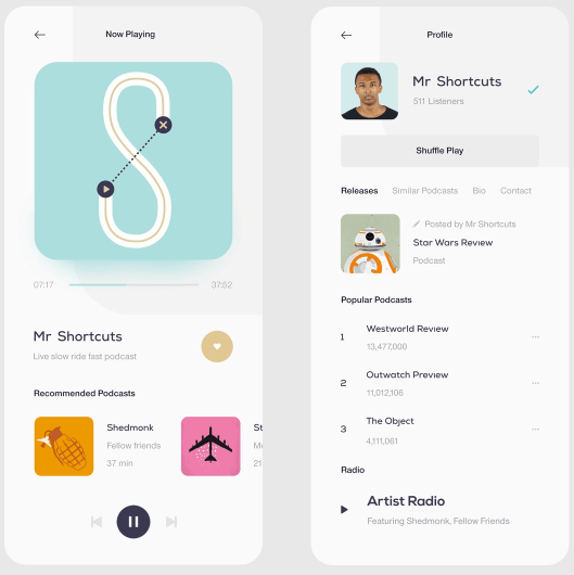 Podcast App - Player & Profile