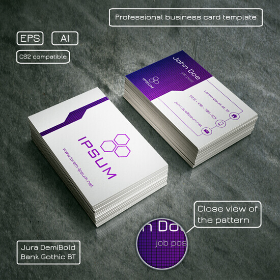 Professional business card – purple and light grey by Mischoko