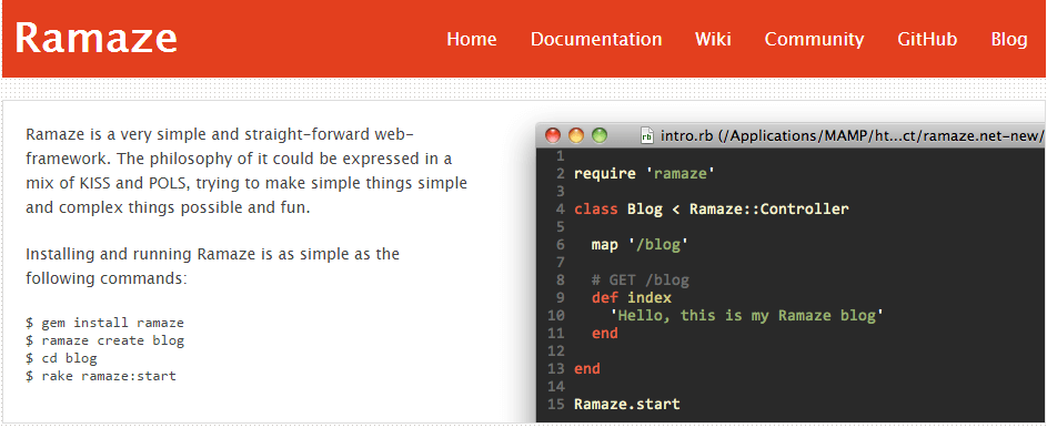 Ramaze • The Web Framework for Rubyists