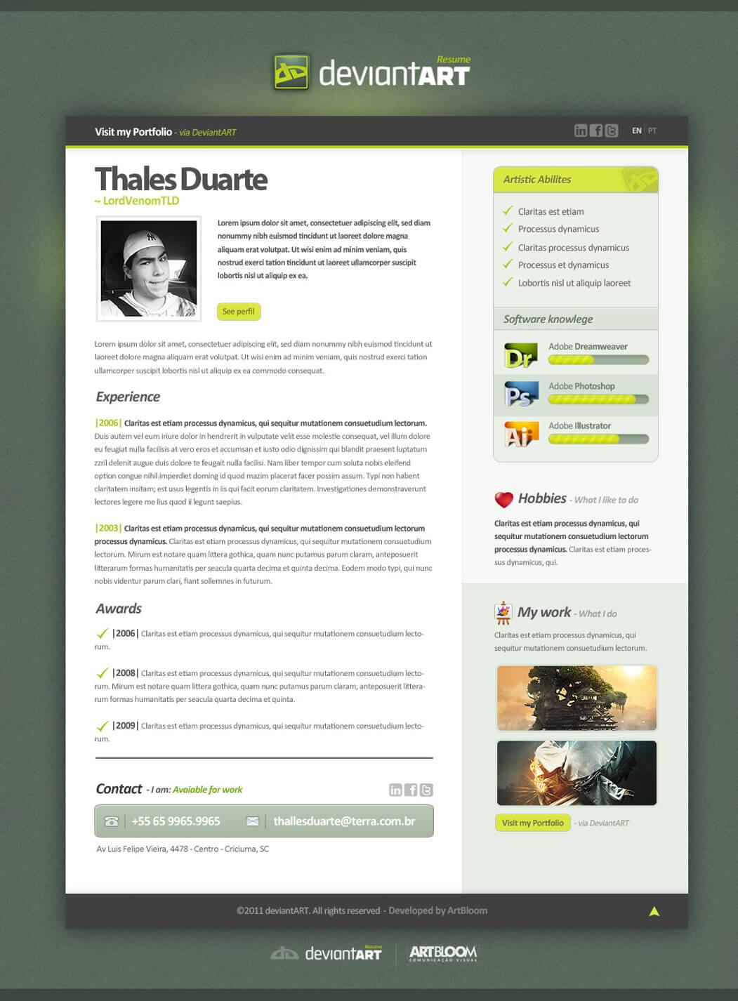 Resume DeviantART by ~LordVenomTLD