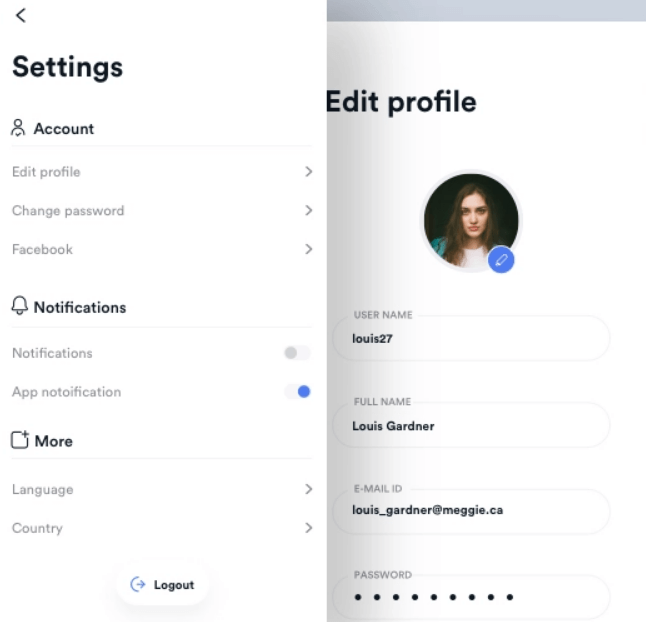 Settings and profile