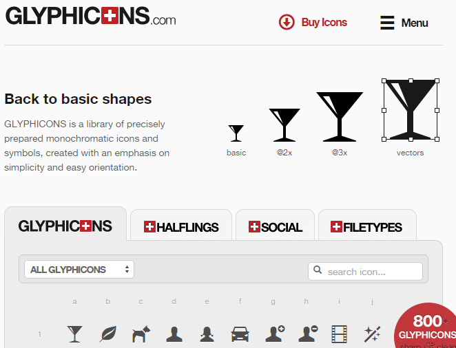 Sharp and clean symbols - GLYPHICONS.com