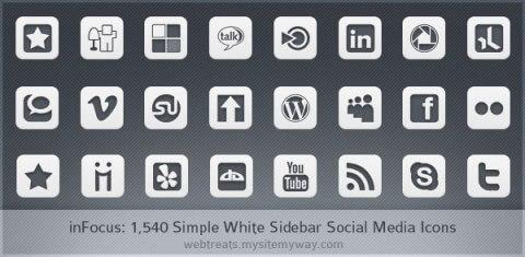 Simple White inFocus Icons by WebTreatsETC