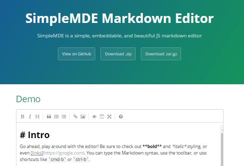 SimpleMDE Markdown Editor