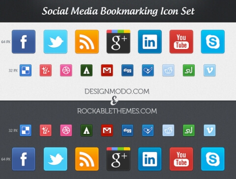 Social Media Bookmarking Icons by ProRock