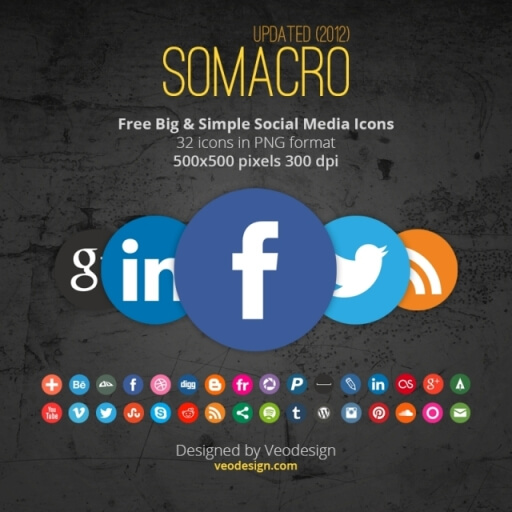 Somacro  32 300DPI Social Media Icons by vervex